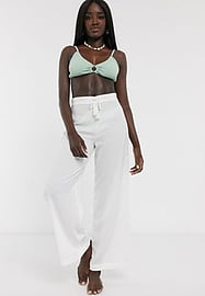 Glamorous Exclusive beach trousers in white