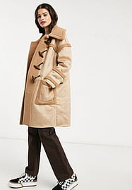 Glamorous faux suede camel coat with toggle detail-Brown
