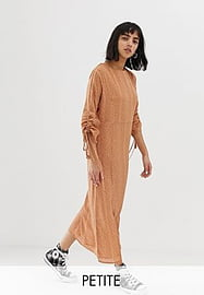 Glamorous Petite midaxi smock dress with ruched sleeves in subtle spot-Brown