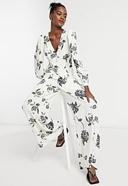 Glamorous wide leg trousers in bold floral co-ord-White