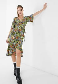 Influence midi wrap dress with frill in ditsy floral print-Multi