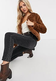 JDY Evelyn cropped faux fur jacket in brown