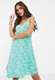 JDY mini skater dress with shirred back detail in mint green daisy print