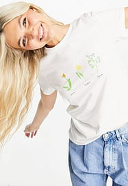 JDY organic cotton t-shirt in white with floral print
