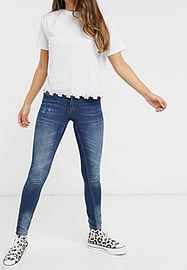 JDY super skinny high rise jeans with distressed washing in mid blue