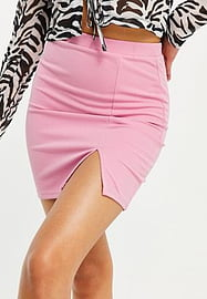 Love & Other Things jersey mini skirt with split in baby pink