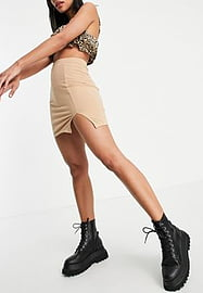 Love & Other Things jersey mini skirt with split in camel-Brown