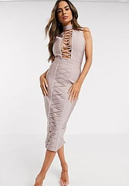 Love & Other Things lace up plunge bandage dress in lilac-Grey