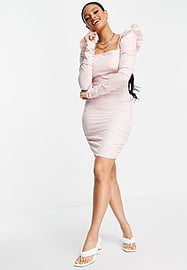 Love & Other Things mesh long sleeve bodycon dress in pink