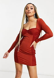 Love & Other Things mesh ruched side bodycon dress in rust-Red