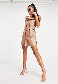 Love & Other Things PU shirt dress in beige-Neutral