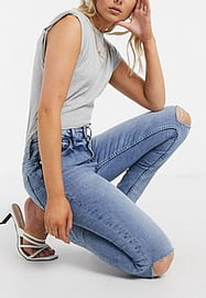 Mango ripped knee jeans in blue