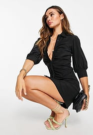 Mango ruched front shirt dress in black