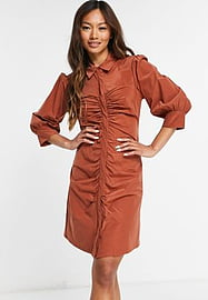 Mango ruched front shirt dress in brown