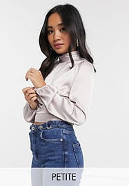 Miss Selfridge Petite satin top with high neck in oyster-Grey