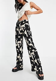 Monki Angelica ecovero abstract print wide leg trousers in black