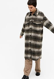 Monki Daze recycled check longline shacket in brown