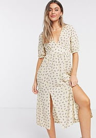 Monki Reese recycled polyester floral print midi dress in yellow