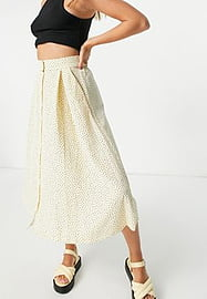 Monki Sigrid recycled button through midi skirt with in beige spot print-Neutral