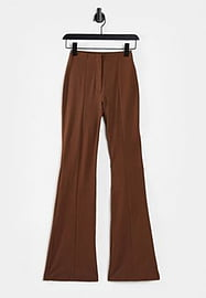 Monki Violet flare trousers in brown