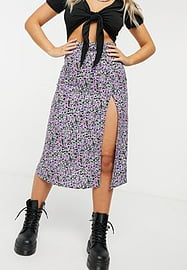 Motel midi skirt in lilac blossom floral with slip side-Purple