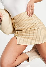 Motel mini a line skirt in stripe with button detail-Neutral