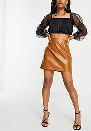 NaaNaa high waisted faux leather skirt in camel-Neutral