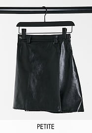 NaaNaa Petite high waisted faux leather skirt in black