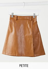 NaaNaa Petite high waisted faux leather skirt in tan-Brown
