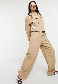 Native Youth high waist pleated very wide leg trousers co-ord-Neutral