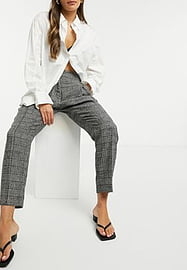 Native Youth slim fit trousers in grey check