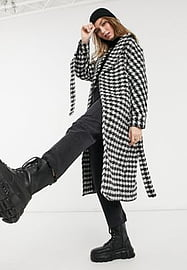 New Look belted maxi houndstooth coat in black check