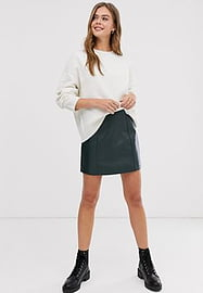 New Look faux leather seamed mini skirt in dark green