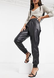 New Look leather look jogger in black