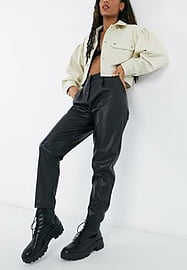 New Look leather look tapered trousers in black