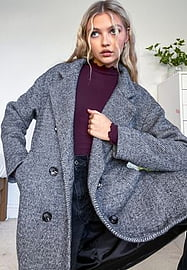 New Look soft formal button detail coat in black-Grey