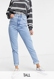 New Look Tall waist enhance mom jean in authentic blue