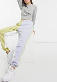 Nike colour block joggers in blue and green neutrals-Multi