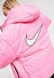 Nike padded jacket with back swoosh in pink