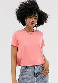 Noisy May cropped tee in neon coral-Pink