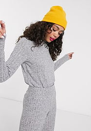 Noisy May high neck knitted ribbed top co-ord-Grey