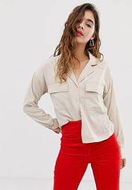 Noisy May pocket detail shirt with contrast stitch-White