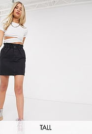 Noisy May Tall denim mini skirt with paperbag waist in black