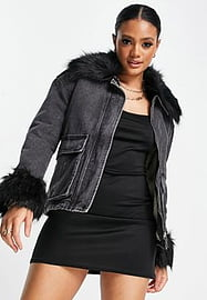 Parisian denim jacket with faux fur cuff and collar in black