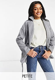 Parisian Petite tie waist double breasted jacket in grey