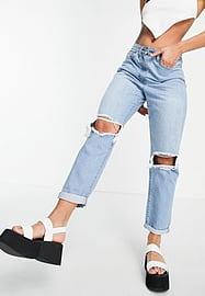Parisian ripped mom jeans in light blue