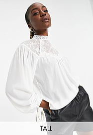 Parisian Tall high neck lace front blouse in white