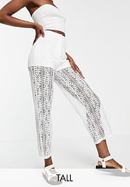 Parisian Tall lace trousers co-ord in white