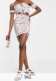 Parisian Tall ruched side mini skirt co-ord in floral print-White