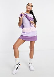 Puma Downtown colourblock mini skirt in lilac and pink - exclusive to ASOS-Purple